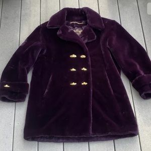 St John Faux Fur Jacket With Gold Buttons